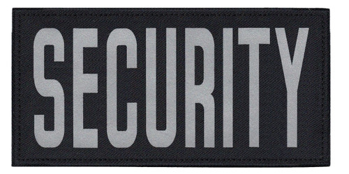 """SECURITY, Back Patch, Printed, Reflective, Hook w/Loop, Tactical, Silver/Midnight, 11x5-1/2"""""""