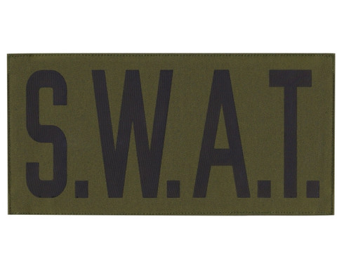 """S.W.A.T., Back Patch, Printed, Hook w/Loop, Tactical Style, Black/O.D., 11x5-1/2"""""""