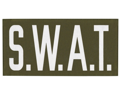 """S.W.A.T., Back Patch, Printed, Hook w/Loop, Tactical Style, White/O.D., 11x5-1/2"""""""