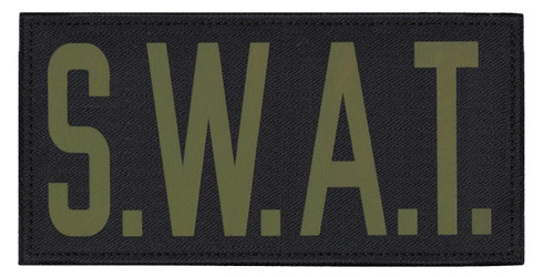"""S.W.A.T., Back Patch, Printed, Hook w/Loop, Tactical Style, Silver/Midnight, 11x5-1/2"""""""