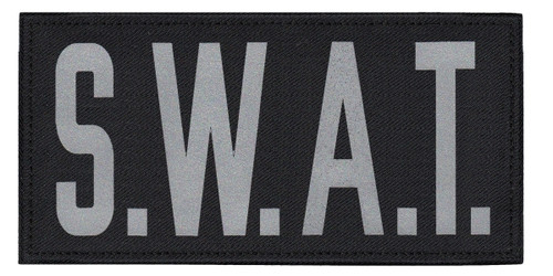 """S.W.A.T., Back Patch, Printed, Reflective, Hook w/Loop, Tactical, Silver/Black, 11x5-1/2"""""""