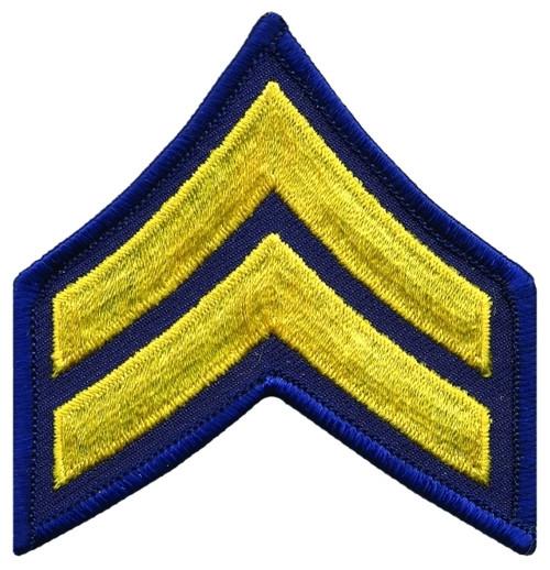 """CPL Chevrons, Merrowed Border, Medium Gold/Navy, 3"""" Wide"""