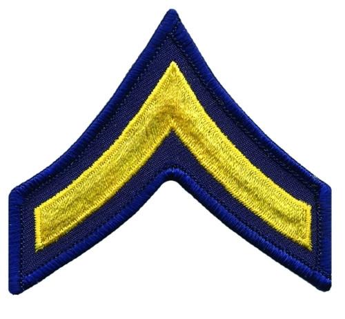 """PFC Chevrons, Merrowed Border, Medium Gold/Navy, 3"""" Wide"""