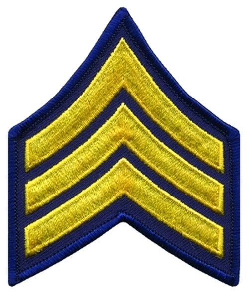 """SGT Chevrons, Merrowed Border, Medium Gold/Navy, 3"""" Wide"""