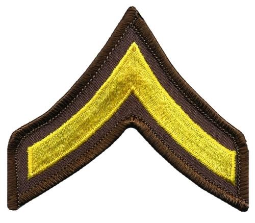 "PFC Chevrons, Merrowed Border, Medium Gold/Brown, 3"" Wide"