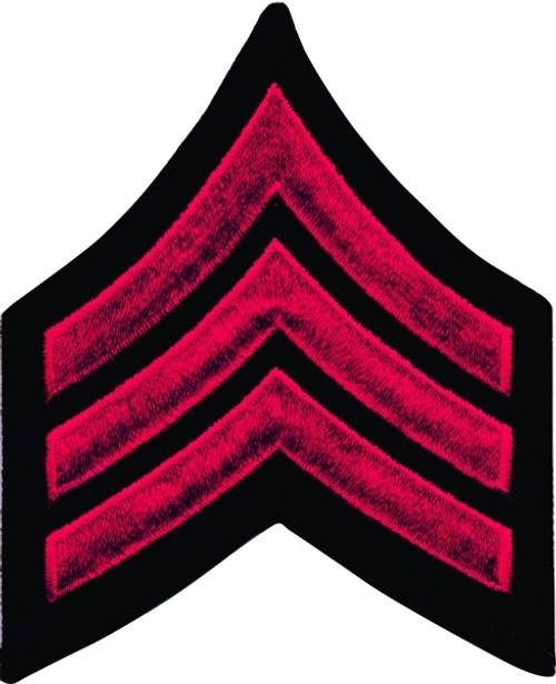 "SGT Chevrons, Merrowed Border, Red/Black, 3"" Wide"