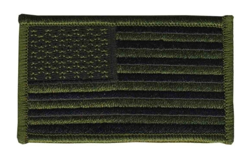"U.S. Flag Patch, O.D./Black, 3-1/4x1-13/16"""