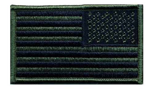 "U.S. Flag Patch, Reverse, O.D./Black, 3-1/4x1-13/16"""