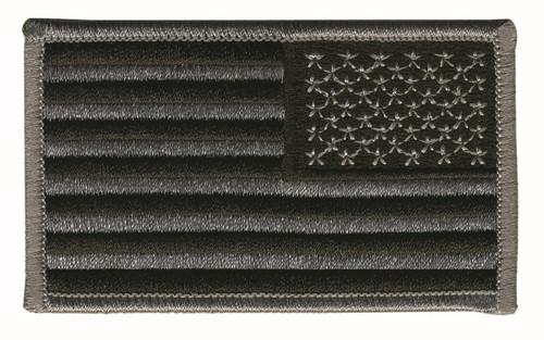 "U.S. Flag Patch, Reverse, Grey/Black, 3-1/4x1-13/16"""