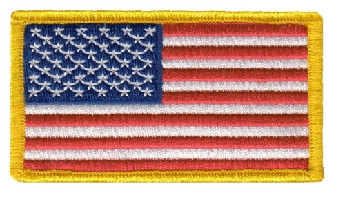 "U.S. Flag Patch, Medium Gold, 3-1/4x1-13/16"""