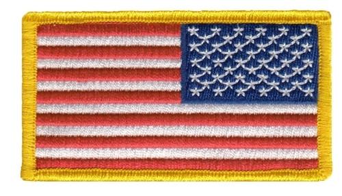 "U.S. Flag Patch, Reverse, Medium Gold, 3-1/4x1-13/16"""