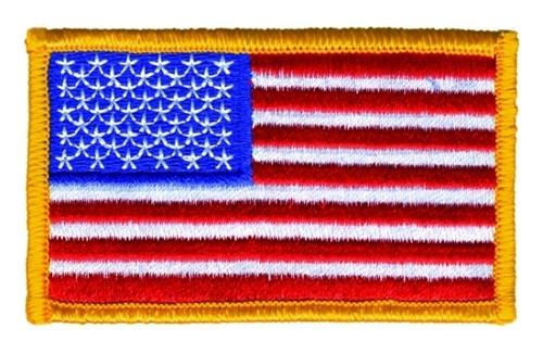 "U.S. Flag Patch, Dark Gold, 3-1/4x1-13/16"""