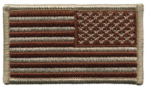 """U.S. Flag Patch, Reverse, Hook, Desert, 3-1/4x1-13/16"""""""