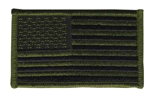 "U.S. Flag Patch, Hook, O.D./Black, 3-1/4x1-13/16"""