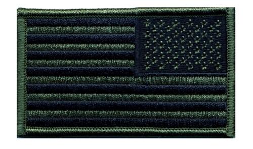 "U.S. Flag Patch, Reverse, Hook, O.D./Black, 3-1/4x1-13/16"""