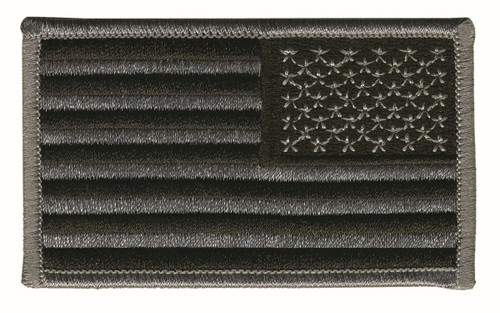 "U.S. Flag Patch, Reverse, Hook, Grey/Black, 3-1/4x1-13/16"""