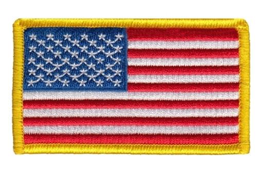 "U.S. Flag Patch, Hook, Medium Gold, 3-1/4x1-13/16"""