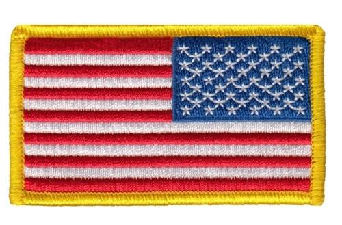 "U.S. Flag Patch, Reverse, Hook, Medium Gold, 3-1/4x1-13/16"""