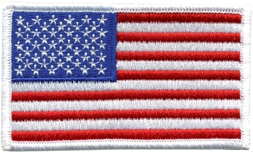 "U.S. Flag Patch, Hook, White Border, 3-1/4x1-13/16"""