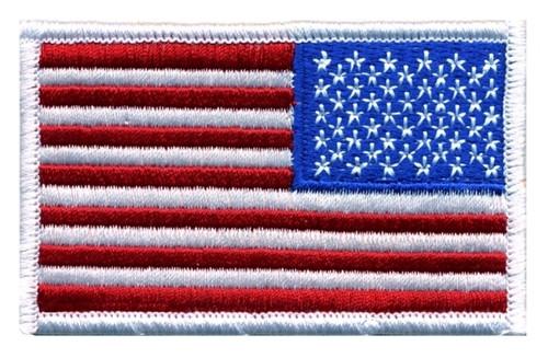 "U.S. Flag Patch, Reverse, Hook, White Border, 3-1/4x1-13/16"""