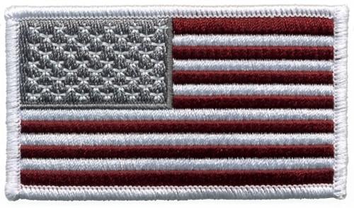 "U.S. Flag Patch, Hook, Maroon, 3-1/4x1-13/16"""
