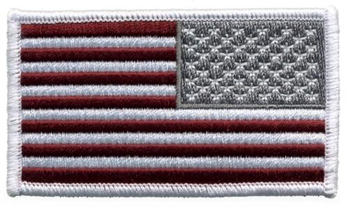 "U.S. Flag Patch, Reverse, Hook, Maroon, 3-1/4x1-13/16"""