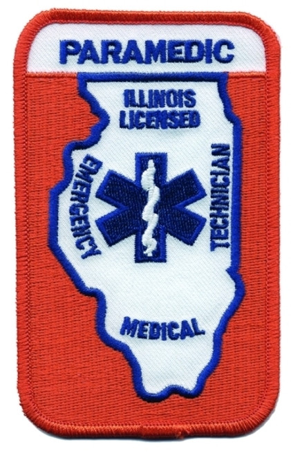 """ILLINOIS LICENSED PARAMEDIC Shoulder Patch, 3x4-3/4"""""""