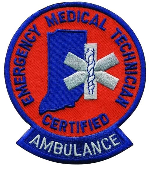 """IN - CERTIFIED EMT AMBULANCE Shoulder Patch, 3-1/2x4-1/8"""""""