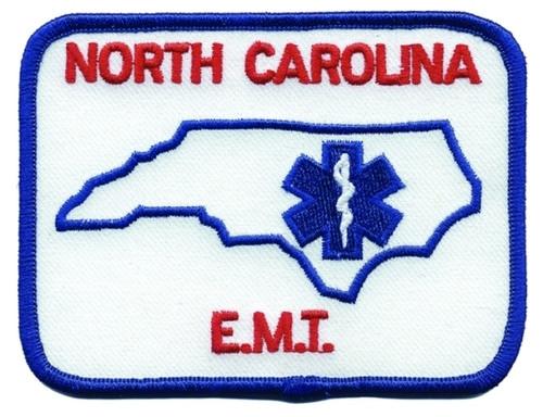 """NORTH CAROLINA E.M.T. Shoulder Patch, Red, 4x3"""""""