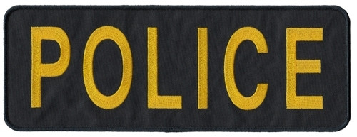 """POLICE Back Patch (Chicago PD), Gold/Dark Navy, 11x4"""""""