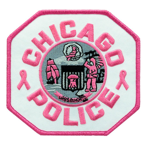 """CHICAGO POLICE Shoulder Patch, Pink/White TWILL, 4-1/4x4"""""""