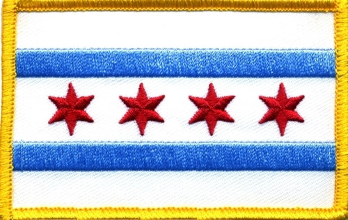 """Chicago Flag Patch, 3-1/2x2-1/4"""""""