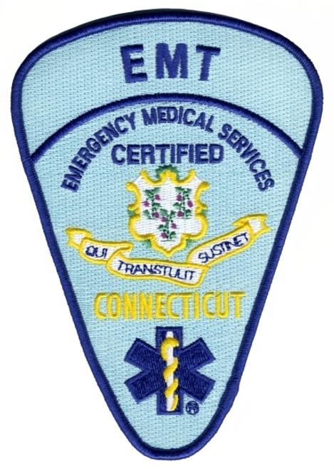 """CONNECTICUT CERTIFIED EMT Shoulder Patch, 4-1/8x5-3/4"""""""