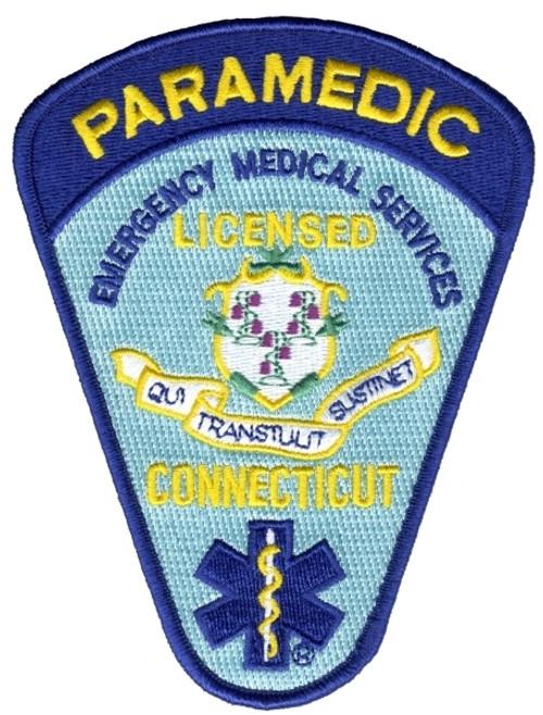 "CONNECTICUT LICENSED PARAMEDIC Shoulder Patch, 4x5-1/4"""