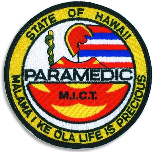 "HAWAII PARAMEDIC Shoulder Patch, 4"" Circle"