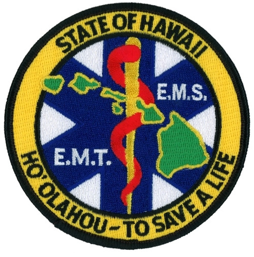 "HAWAII E.M.T. E.M.S. Shoulder Patch, 4"" Circle"