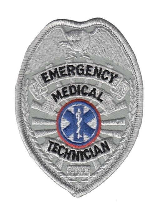 "EMT Badge Patch, Silver, 2-1/2 x 3-1/2"""