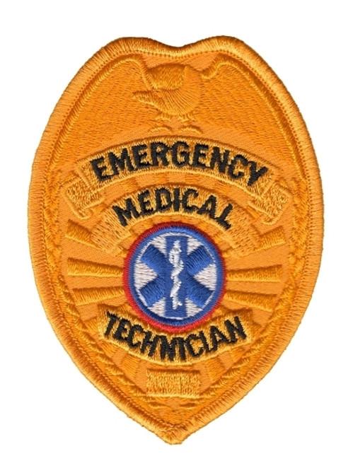 """EMT Badge Patch, Gold, 2-1/2 x 3-1/2"""""""