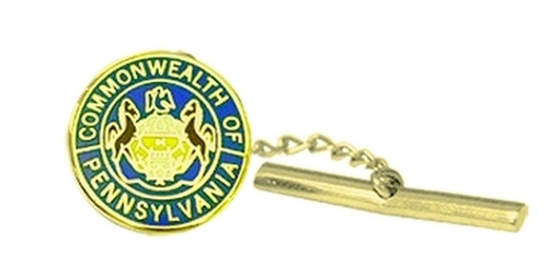 "PA Commonwealth Seal Tie Tac w/Jewelers Clutch, Chain & Bar, 1/2"" Circle"