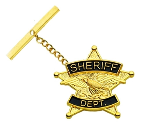 """SHERIFF DEPT., Tie Tac w/Jewelers Clutch, Chain & Bar, Enameled, 7/8"""""""