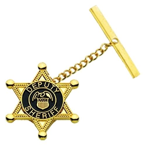 """DEPUTY SHERIFF, Tie Tac w/Jewelers Clutch, Chain & Bar, Enameled, 3/4"""""""