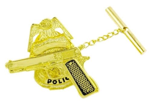 "Gun on Badge Tie Tac w/Jewelers Clutch, Chain & Bar, Enameled, 2x5/16"""