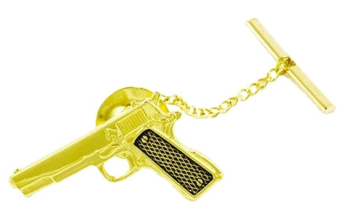 "Gun Tie Tac w/Jewelers Clutch, Chain & Bar, Enameled & PlatedGold Plating, 2x5/16"""