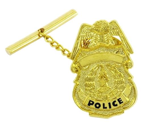 "Police Badge Tie Tac w/Jewelers Clutch, Chain & Bar, Enameled, 2x5/16"""