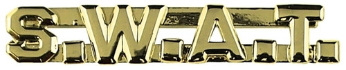 """S.W.A.T. Die Struck Letters, 2 Posts & Clutch Backs, Pairs, 1/4"""" High"""