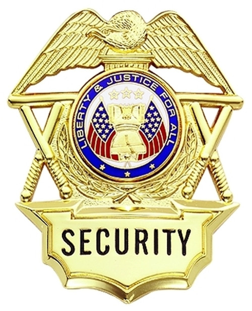 """SECURITY (Nightsticks) Badge, Enameled & Plated Durable 5-Pc Pin/Catch, 2-3/16x2-5/8"""""""