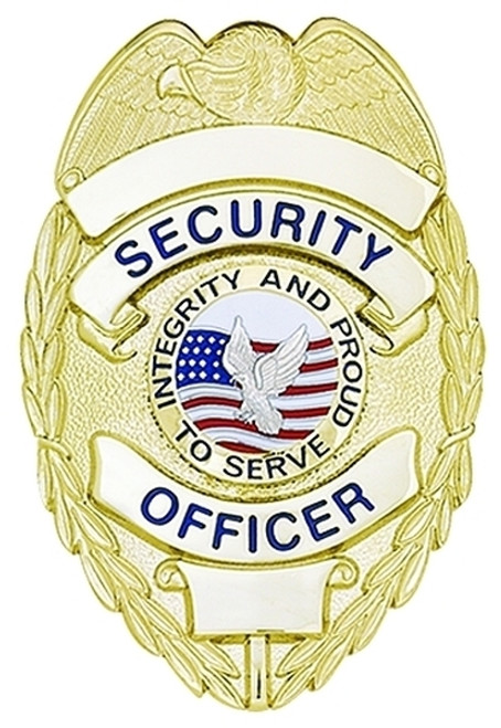 """SECURITY OFFICER Badge, Enameled & Plated Durable 5-Pc Pin/Catch, 2-1/4x3-1/8"""""""