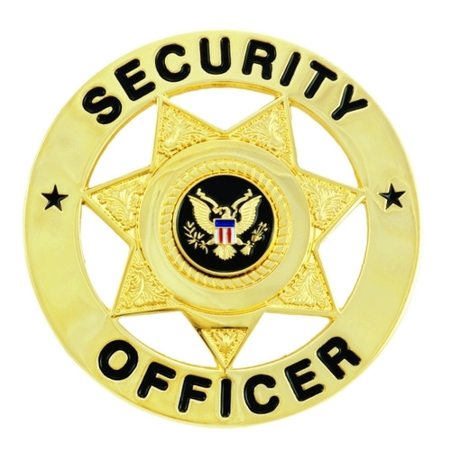 """SECURITY OFFICER Badge, Enameled & Plated Durable 5-Pc Pin/Catch, 2"""" Circle"""