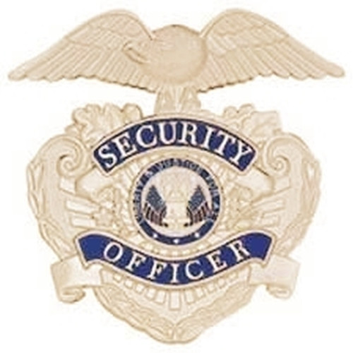 """SECURITY CAP-Badge, Enameled & Plated Screw Post/Nut & Holding Pin, 2-3/4x2-5/8"""""""