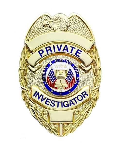 """PRIVATE INVESTIGATOR Badge, Enameled & Plated Durable 5-Pc Pin/Catch, 2-1/4x3-1/8"""""""